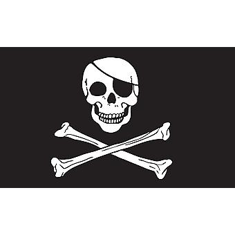 5 ft x 3 ft Flagg - Pirate - hodeskalle og kryss bein