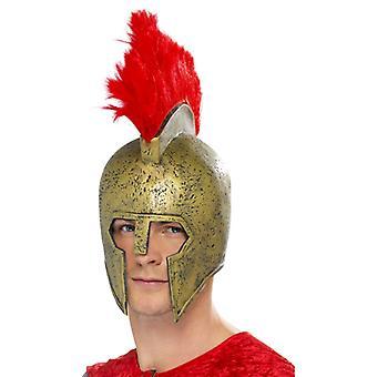 Perseus Gladiatorhelm Gold mit rotem Helmbusch