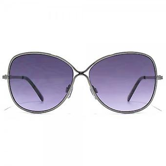 Carvela Glamorous Metal Sunglasses In Shiny Gunmetal