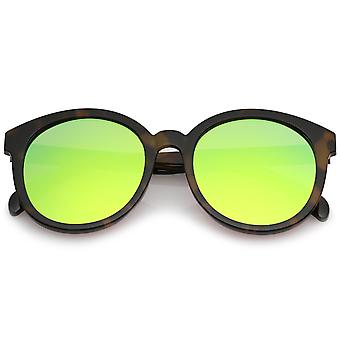 Oversize Super flad farvede spejl linse runde solbriller 54mm