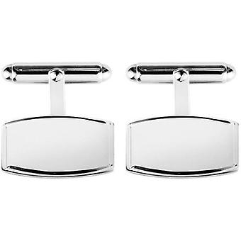 Orton West Sterling Silver Engraved Edge Rectangular Cufflinks - Silver