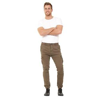 Men's Slim Fit Cargo Trousers - Green Slim Fit  Elasticated at ankle