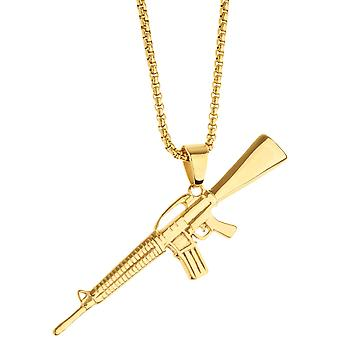 Iced Out Edelstahl Anhänger Kette - Weapon gold