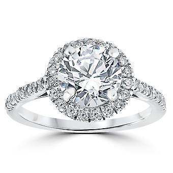 2 1/3 ct Runde Runde Halo DiamantVerlobungsring 14k Weißgold verbessert