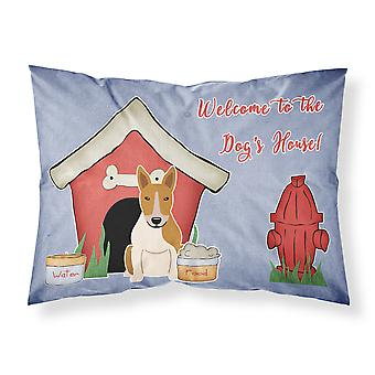 Dog House Collection Bull Terrier Red White Fabric Standard Pillowcase