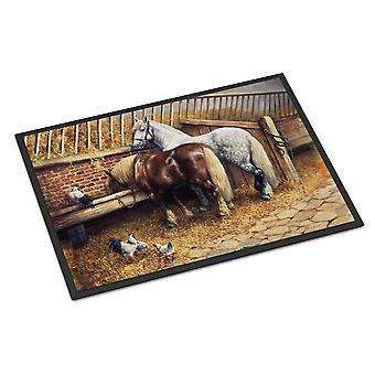 Horses Eating with the Chickens Indoor or Outdoor Mat 18x27