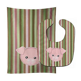 Carolines Treasures  BB6930STBU Pig Face Baby Bib & Burp Cloth