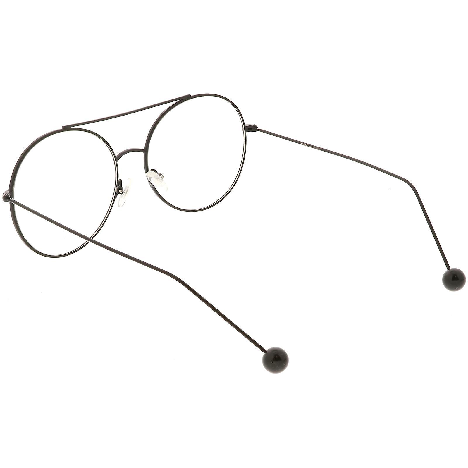 48717ed315 Premium Oversize Round Eyeglasses Metal Double Nose Bridge Clear Flat Lens  59mm
