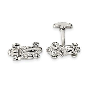 Classic Race Car Cuff Links in Sterling Silver with Moveable Wheels