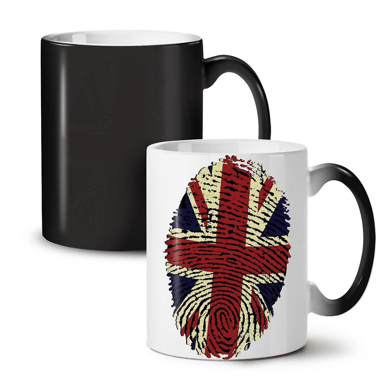 OzWellcoda Noir Britannique Nouvelle Thé Tasse Digitales Couleur Céramique D'empreintes Changeant Café 11 AL34Rj5q