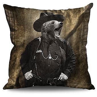 Mr Bear Beast Wild Animal Linen Cushion Mr Bear Beast Wild Animal | Wellcoda