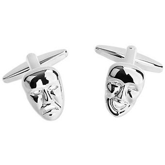 Zennor Happy and Sad Theatre Masks Cufflinks - Silver
