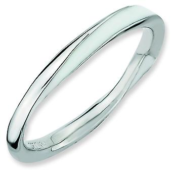 Sterling Silver Polished Rhodium-plated Twisted White Enameled 2.5 x 2.25mm Stackable Ring - Ring Size: 5 to 10