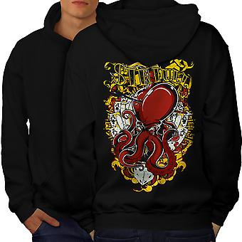 Sinful Poker Card Gamble Men BlackHoodie Back | Wellcoda