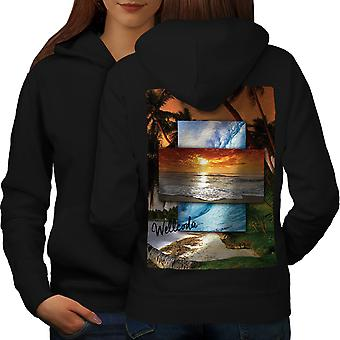 Holiday Memory Women BlackHoodie Back | Wellcoda