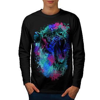 Colorful Tiger Art Men BlackLong Sleeve T-shirt | Wellcoda