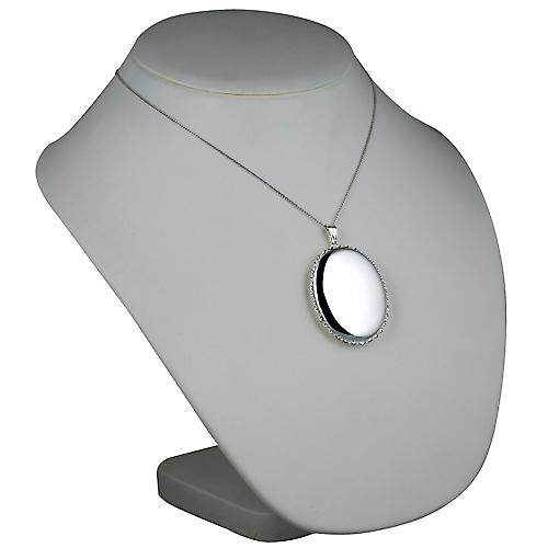 Silver 48x38mm plain twisted wire edge oval Locket with a curb Chain 18 inches