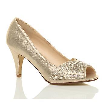 Ajvani dame høj hæl peep toe platform diamante brude prom part Domstolen sko sandaler