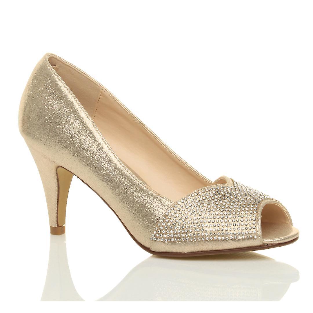 Ajvani womens high heel peep toe platform diamante bridal prom party court shoes sandals