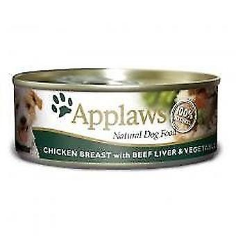 Applaws Dog Food in Cans with Chicken Beef Liver & Vegetables 156g (Pack of 16)
