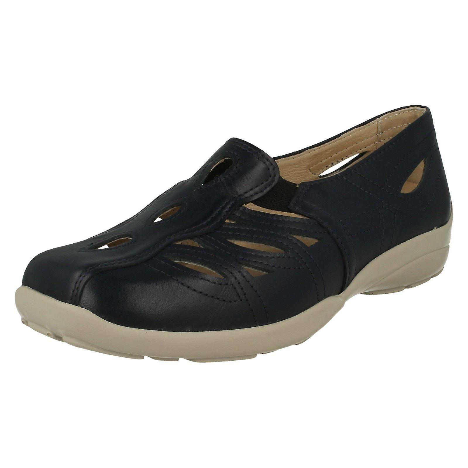 Ladies Easy B Slip On Casual Shoes Fran - Navy Leather - UK Size 5 EE/4E - EU Size 37.5 - US Size 7