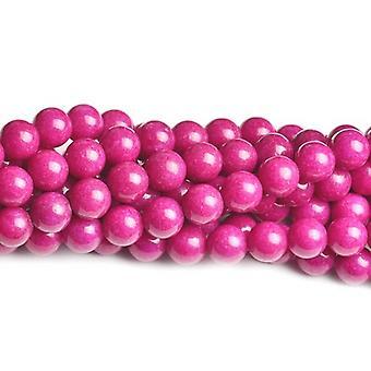 Strand 45+ Fuchsia Mashan Jade 8mm Dyed Plain Round Beads CB41709-5