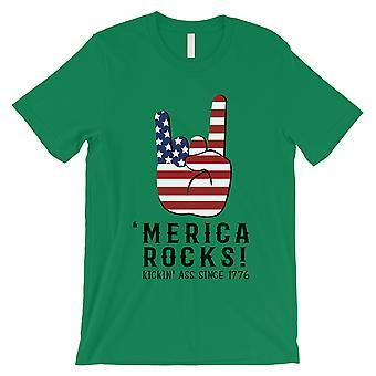 Merica Felsen T-Shirt Herren grün 4. Juli Shirt Armee Bruder Geschenk