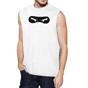 Ninja Eyes Mens White Round Neck Muscle Tank Top For Halloween