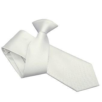 White Solid Check Clip On Slim Tie