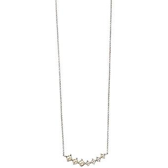 Beginnings Freshwater Pearl Graduated Bar Necklace - White/Silver