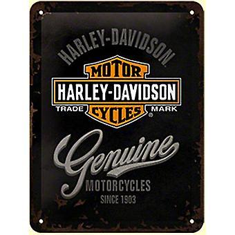 Harley Davidson ekte metall tegn (200 Mm X 150 Mm)