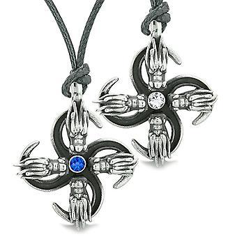 Übernatürliche Drachen Amulett Kräfte Liebe Paare Beste Freunde blau weiße Kristall einstellbare Halsketten