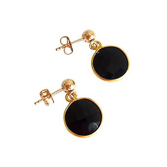 Earrings Black Onyx gold earrings Onyx earrings