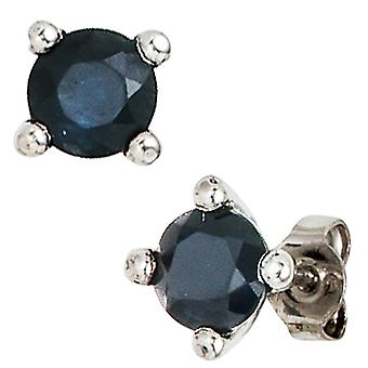 Sapphire earrings 925 sterling silver rhodium plated 2 blue sapphires earrings silver
