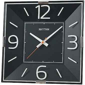 Kwarcowy zegar ścienny, kwadrat czarny rytm ABS obudowa pnący drugi 30 x 30 cm