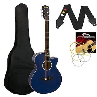 Tiger Electro Acoustic Guitar for Beginners - Blue