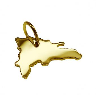 Trailer map pendants in gold yellow-gold in the form of Dominican Republic