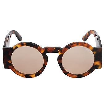 Tom Ford Tatiana Round Sunglasses FT0603 55E 47 | Havana Frame | Brown Lenses