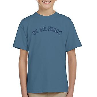 US Airforce Training Navy Blue Text Distressed Kid's T-Shirt