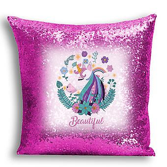 i-Tronixs - Unicorn Printed Design Pink Sequin Cushion / Pillow Cover for Home Decor - 13