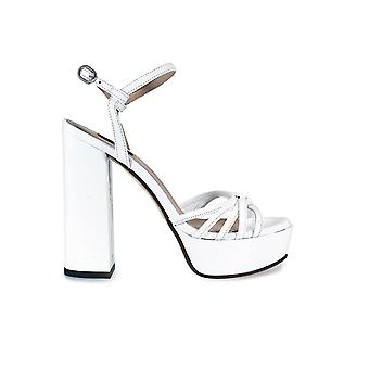 PINKO CHAMPAGNE 1 WHITE PATENT LEATHER SANDAL