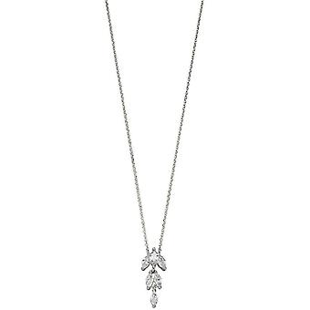 Elements Silver Cubic Zirconia Marquise Necklace - Silver