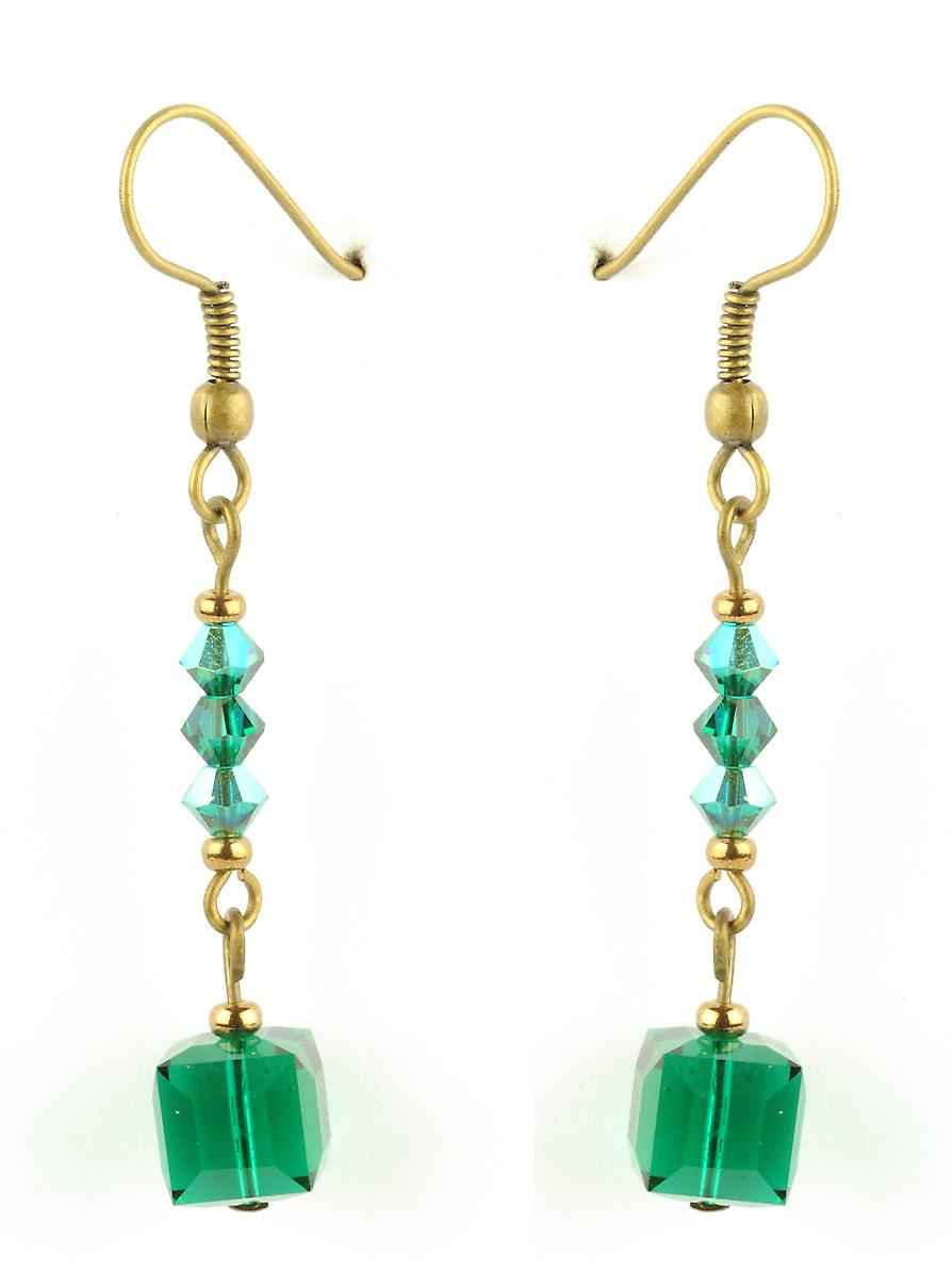 Waooh - jewelry - WJ0781 - earrings with Swarovski blue & green - mount colour gold rhinestones