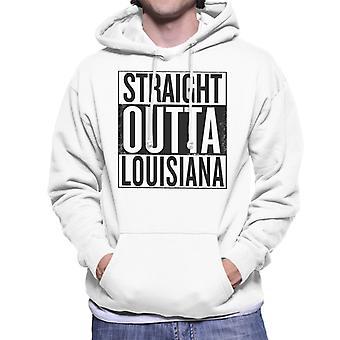 Negro texto recto Outta Louisiana Estados sudadera con capucha hombres