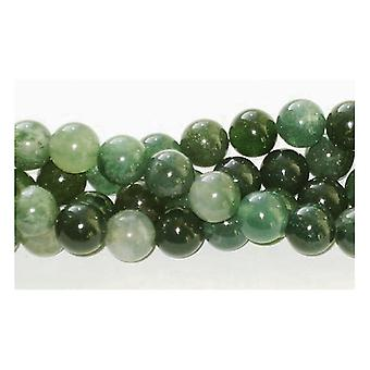 Strand 45+ Green Moss Agate 8mm Plain Round Beads GS1646-3