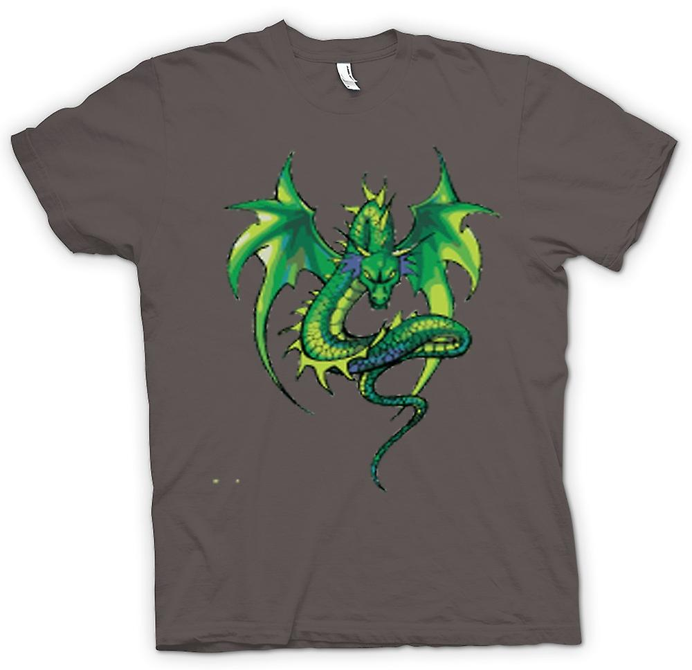 Heren T-shirt-Green Dragon komische Design