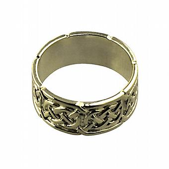 18ct Gold 8mm Celtic Wedding Ring Size L