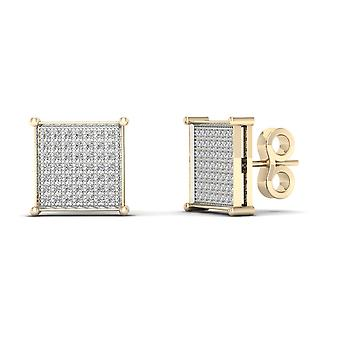 IGI Certified 10k Yellow Gold 0.33 Ct Brilliant Diamond Cluster Stud Earrings