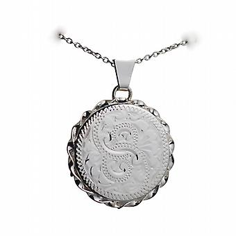 Silver 22mm hand engraved twisted wire edge flat round Locket with a rolo Chain 24 inches