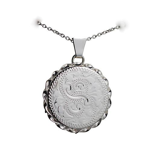 Silver 22mm hand engraved twisted wire edge flat round Locket with a rolo Chain 14 inches Only Suitable for Children